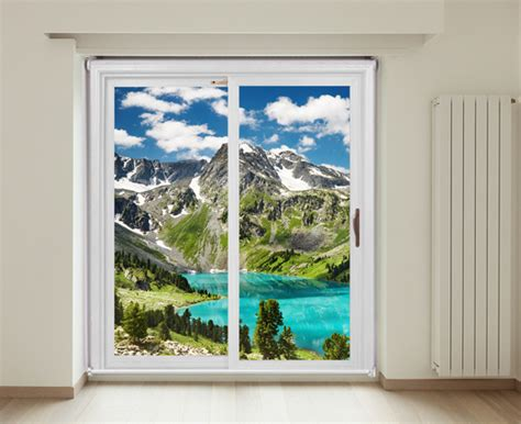 Sliding glass door view of Altai mountains | printed photo