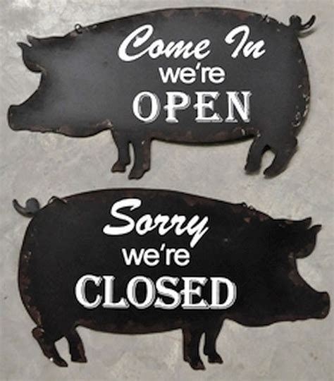 Pig Open Closed Sign Steel Double Sided Cabin Man Cave