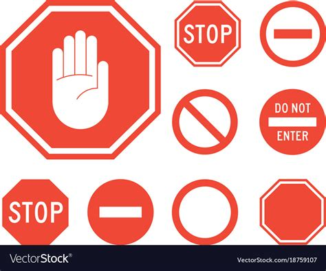 Stop signs collection in red and white Royalty Free Vector