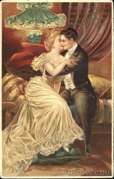 Victorian Couple Embracing on a Couch Romance & Love