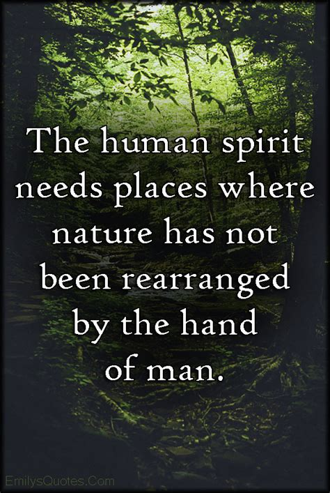 The human spirit needs places where nature has not been