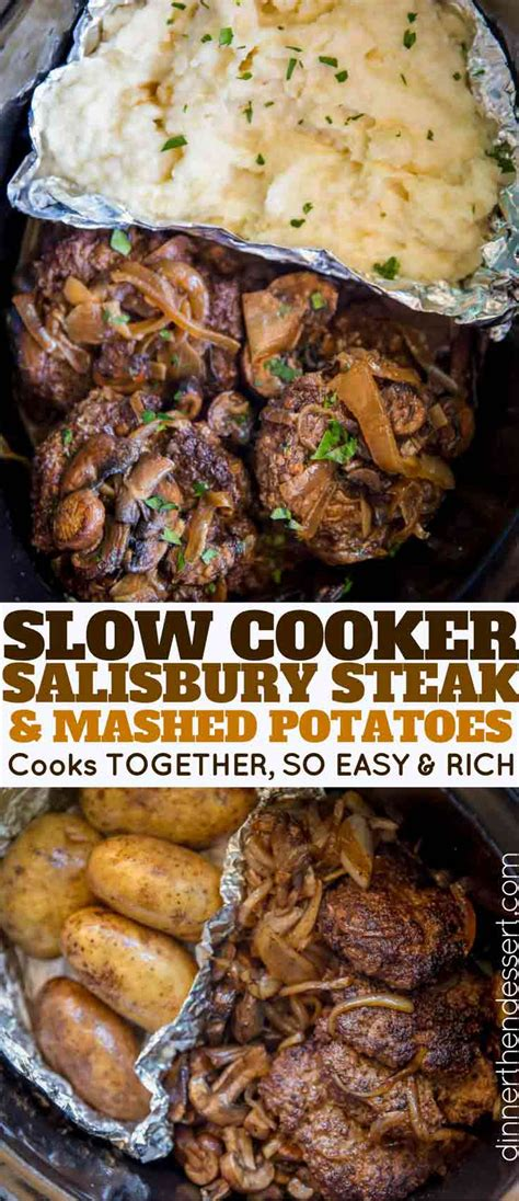 Slow Cooker Salisbury Steak and Mashed Potatoes - Dinner