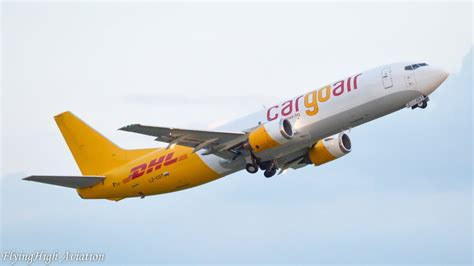 CLOSE-UP Cargo Air/DHL Boeing 737-400(SF) Sunset Takeoff