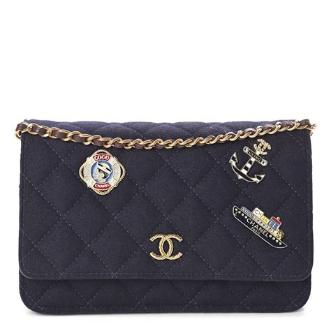 CHANEL Felt Quilted Paris-Hamburg Charms Wallet On Chain
