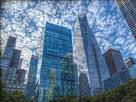Manhattan's buildings reflections   From Bryant Park